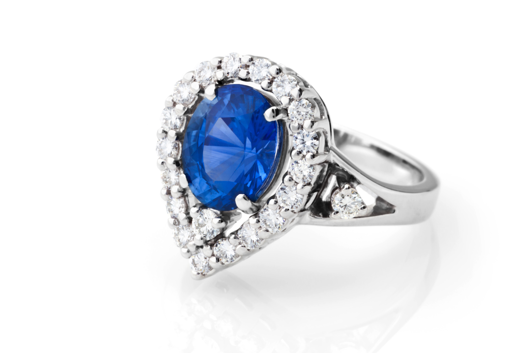 A ring with sapphire and diamonds.