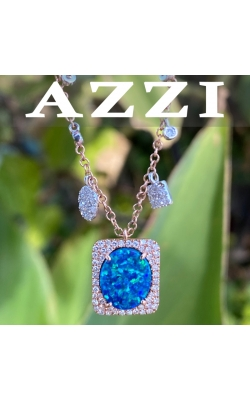 14k Rose Gold Diamond and Opal Pendant product image