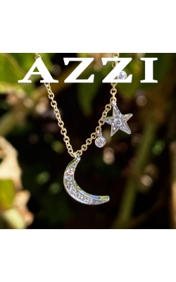 14k Two Tone Moon and Stars Pendant product image