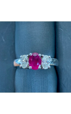 14k White Gold 3 Stone Ruby and Diamond Ring product image