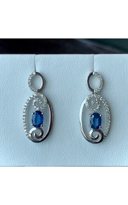 14k White Gold Diamond and Sapphire Dangle Earrings product image