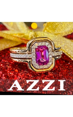 18k rose and white gold pink sapphire and diamond ring product image