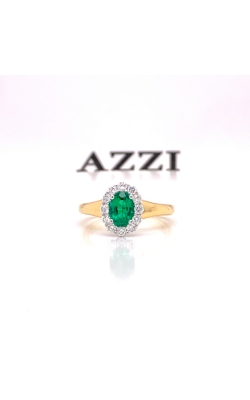 18k Yellow and White Gold Emerald and Diamond Ring product image