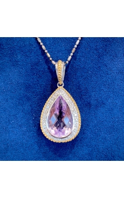 14k Two Tone Amethyst and Diamond Pendant product image