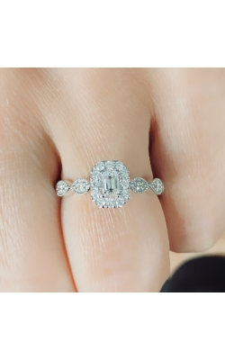 Emerald Halo Engagement Ring product image