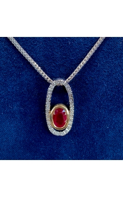 14k Two Tone Ruby and Diamond Halo Pendant product image