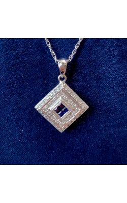 14k White Gold Sapphire and Diamond Pendant product image