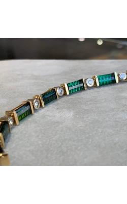 14k Two Tone Green Tourmaline and Diamond Bracelet product image