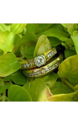 14k Yellow Gold Channel Set Engagement Ring Set product image